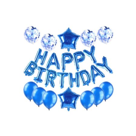 blue birthday party balloons