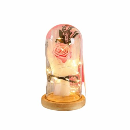 forever rose preserved in glass - pink