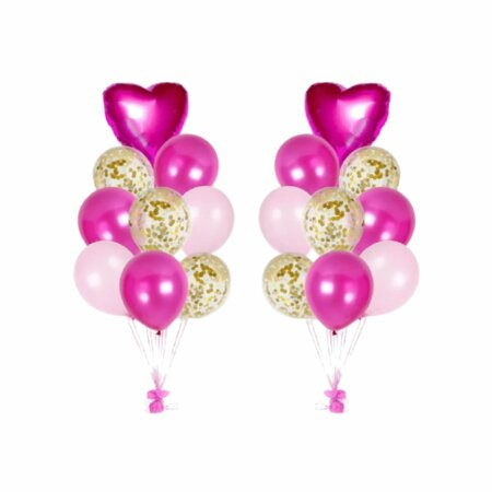 party balloons in pink & gold