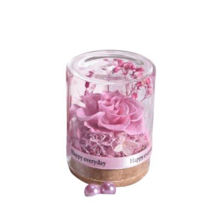 preserved rose in glass