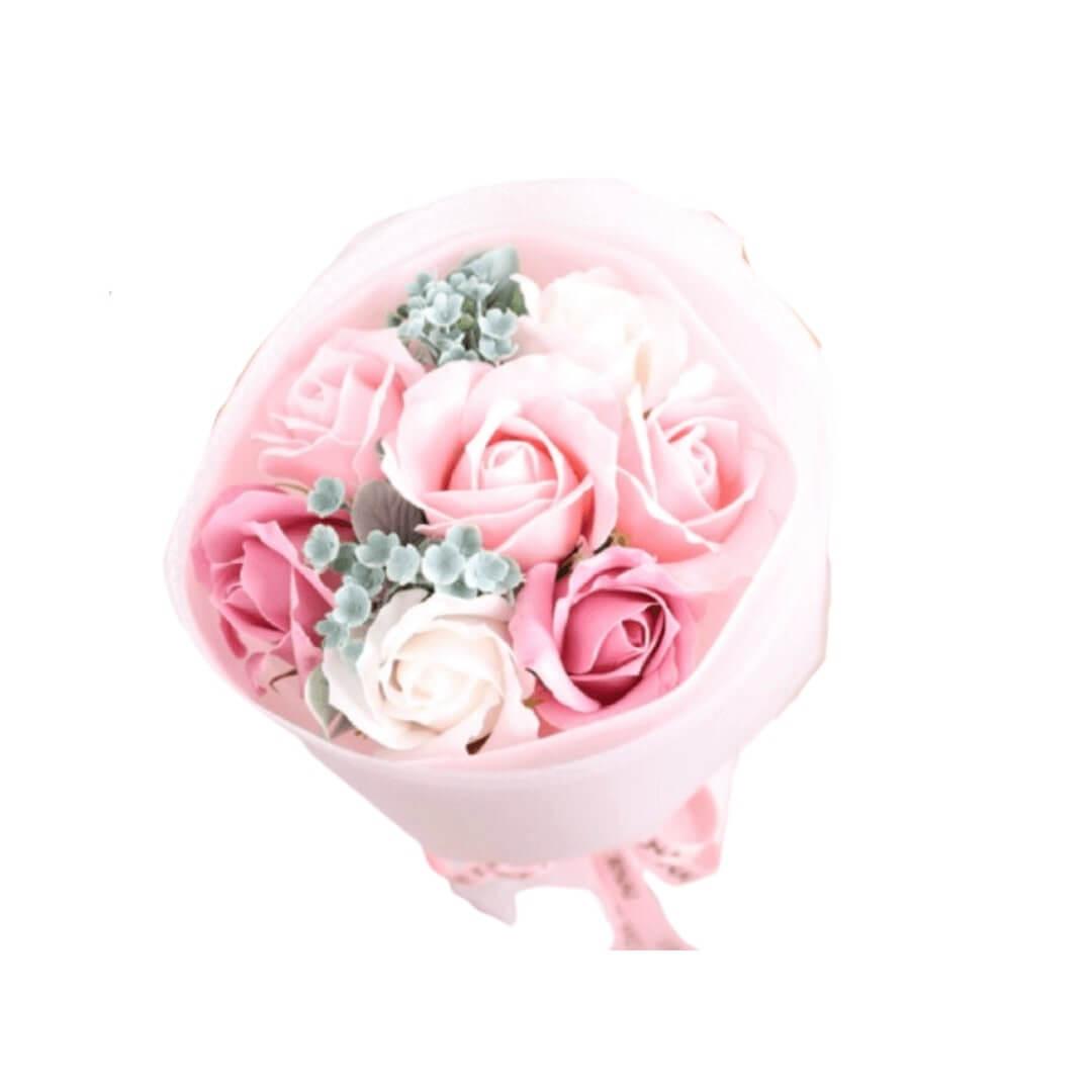soap flower bouquet in pink love (2)