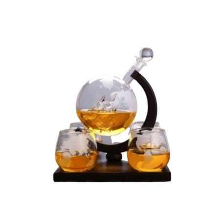 whiskey decanter globe gift set (3)