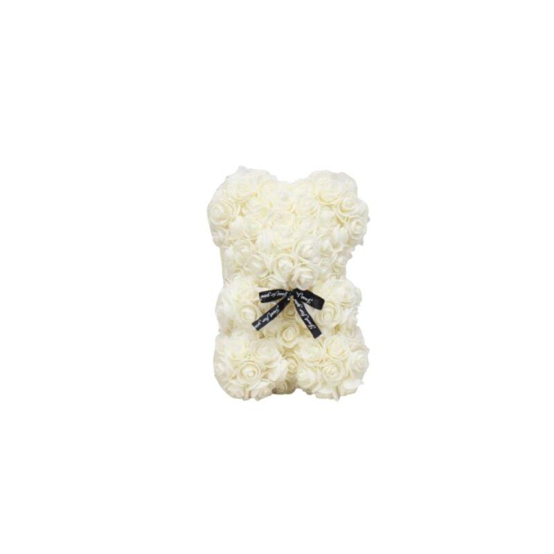 white rose teddy bear gift
